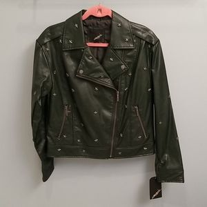 Collection B Dark Green Faux Leather Moto Jacket